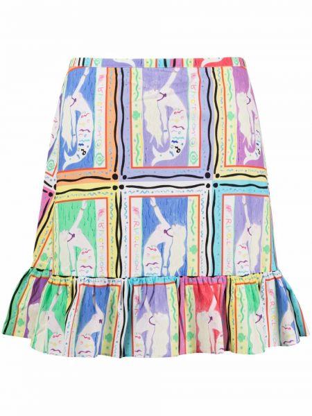 Różowa spódnica z wysokim stanem bawełniana Rixo
