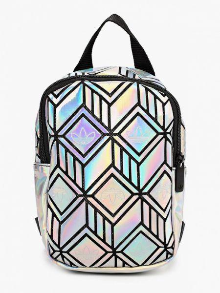 Кожаный лаковый серебряный рюкзак Adidas Originals