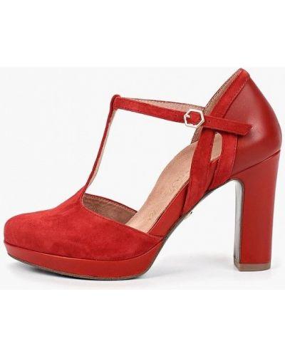 Туфли на каблуке кожаные красные Heart & Sole By Tamaris