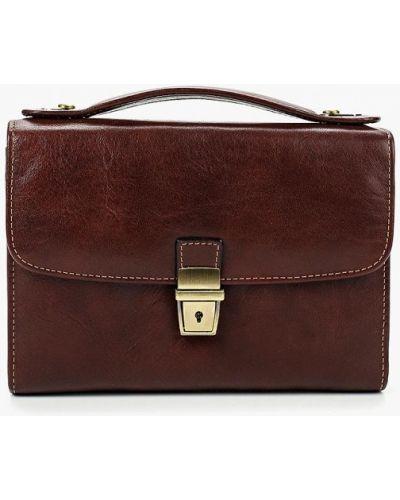 Коричневая кожаная сумка Tony Perotti