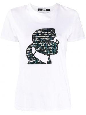 Хлопковая с рукавами белая толстовка Karl Lagerfeld