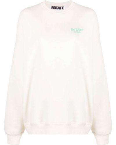 Biała bluza długa z długimi rękawami bawełniana Rotate