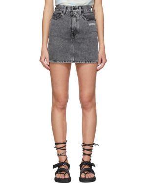 Юбка мини джинсовая с цветочным принтом Off-white
