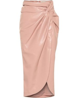 Розовая классическая юбка миди в рубчик из натуральной кожи Jonathan Simkhai