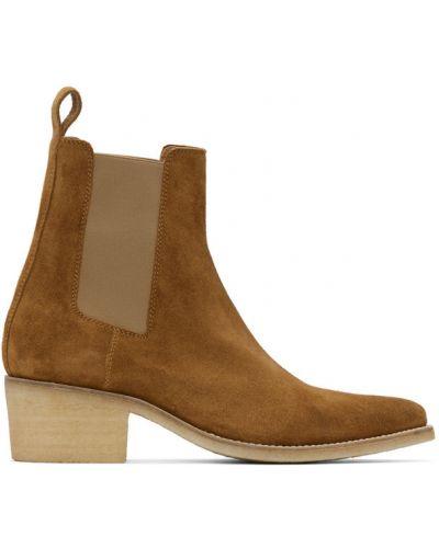Коричневые замшевые ботинки челси на каблуке Amiri