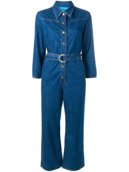 Синий классический джинсовый комбинезон с поясом Mih Jeans