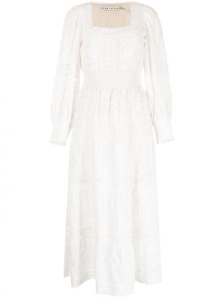 Хлопковое платье миди - белое Alice+olivia