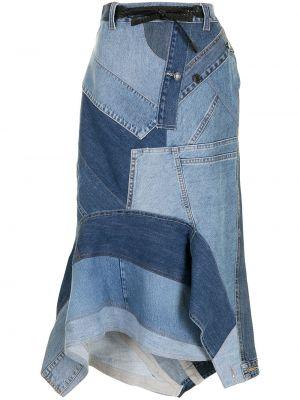 С завышенной талией синяя джинсовая юбка на пуговицах Tom Ford