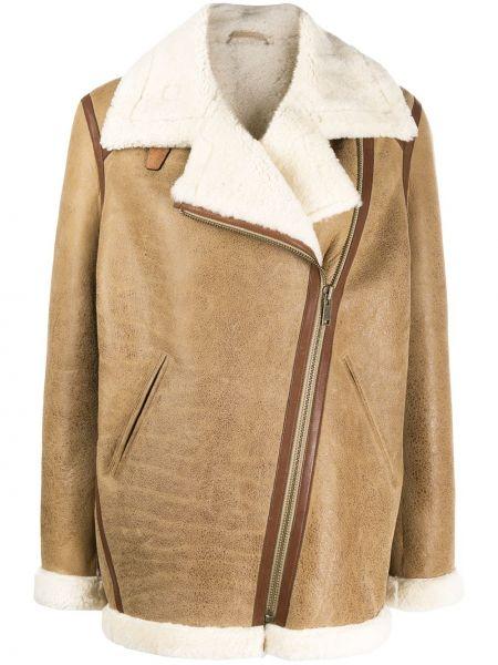 Bezpłatne cięcie skórzany brązowy kurtka z kieszeniami Isabel Marant