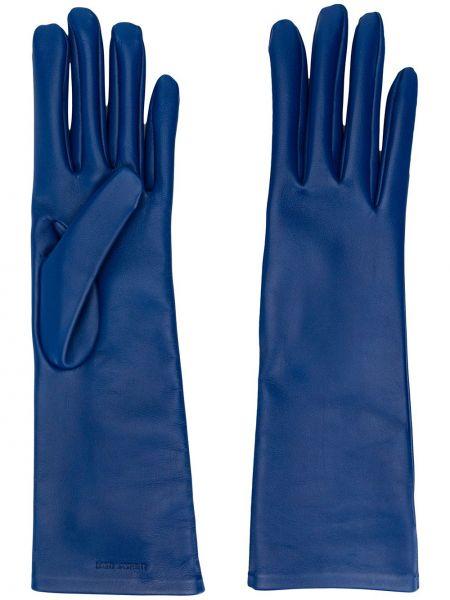 Niebieskie rękawiczki skorzane Saint Laurent