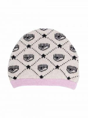 Prążkowany różowy kapelusz wełniany Chiara Ferragni Kids