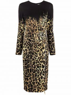 Платье миди с длинными рукавами - черное Roberto Cavalli