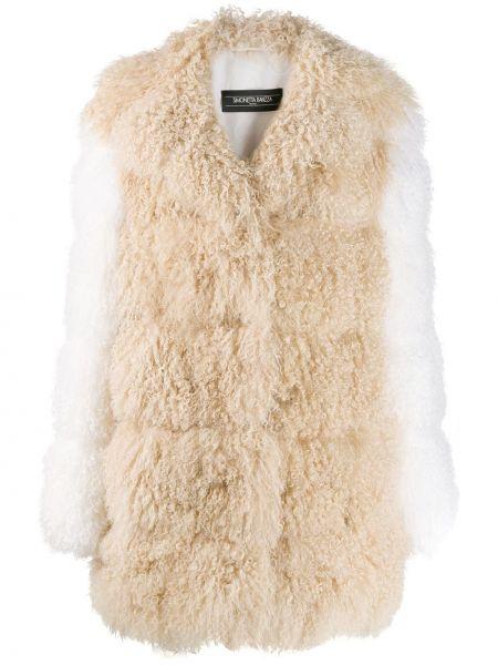Открытое кожаное пальто с воротником Simonetta Ravizza