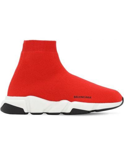 Красные трикотажные кроссовки Balenciaga