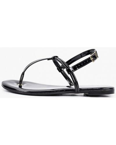 Лаковые черные кожаные сандалии Moleca