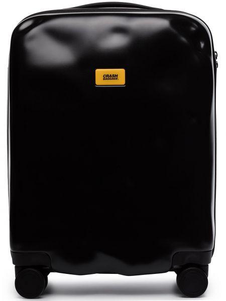 Черный чемодан на молнии с карманами Crash Baggage