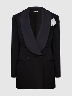 Шерстяной черный пиджак Miu Miu
