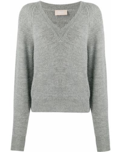 Шерстяной серый приталенный джемпер с V-образным вырезом Drumohr