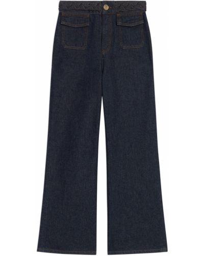 Хлопковые синие джинсы с карманами Sandro