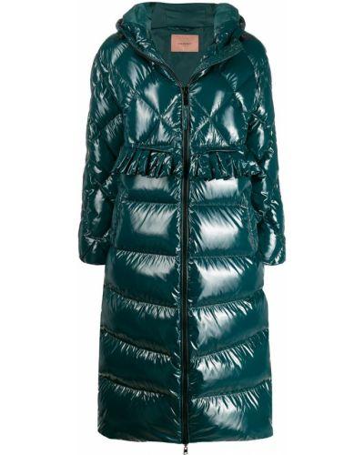 Пальто с капюшоном длинное стеганое Twin-set