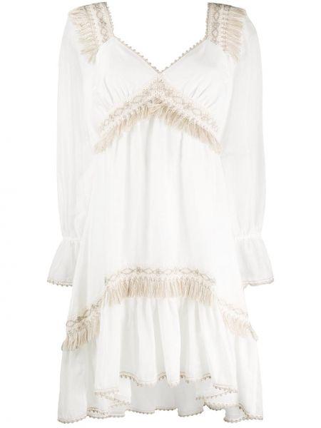 Платье с бахромой - белое Blumarine