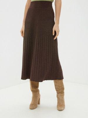 Плиссированная юбка осенняя коричневый Marytes
