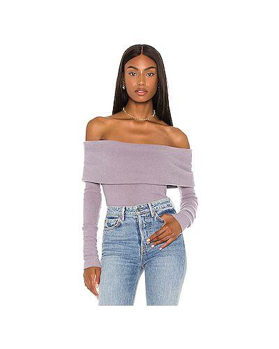 Фиолетовый свитер свободного кроя в рубчик Free People