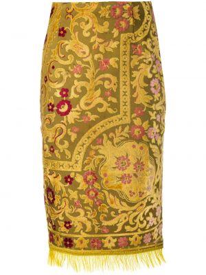 Bawełna musztarda spódnica ołówkowa frędzlami z paskiem Marine Serre