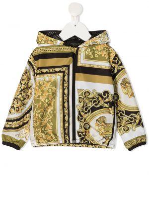 Хлопковая черная длинная куртка с капюшоном Young Versace