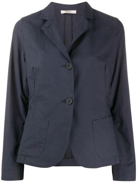 Хлопковый синий пиджак с воротником Odeeh