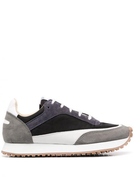 Czarne sneakersy do biegania skorzane sznurowane Spalwart