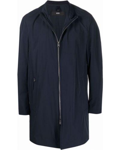 Niebieski długi płaszcz ze stójką z długimi rękawami Boss Hugo Boss