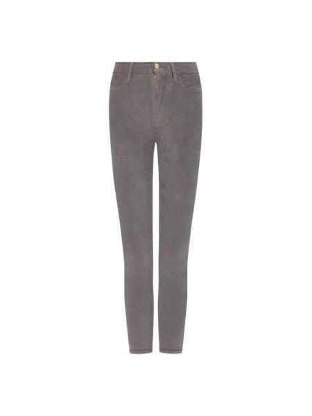 Вечерние серые брюки в рубчик на каблуке Frame Denim