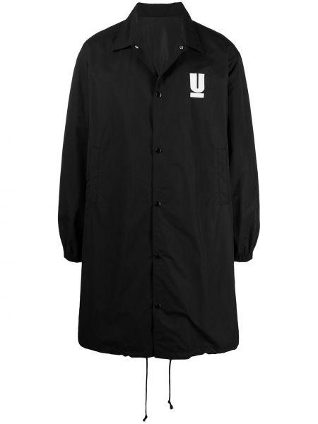 Czarny długi płaszcz z nylonu z długimi rękawami Undercover