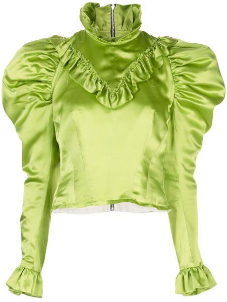 Салатовая прямая сатиновая рубашка с воротником Dilara Findikoglu