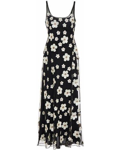 Czarna sukienka długa z cekinami tiulowa Alexachung