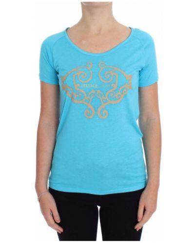Niebieski t-shirt z wiskozy Versace Jeans Couture