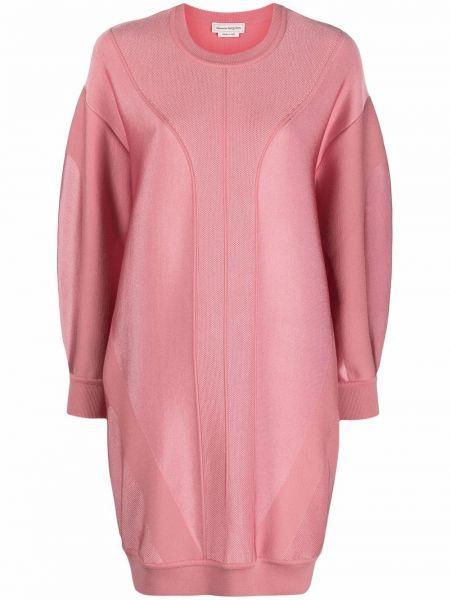 Розовое шерстяное платье макси Alexander Mcqueen