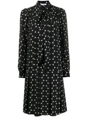 Шелковое с рукавами черное платье макси Erdem