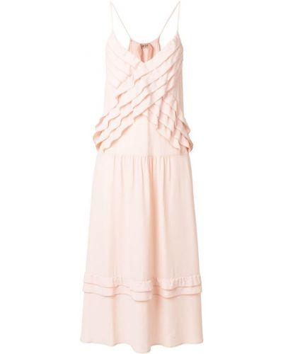 Платье миди розовое на бретелях N21