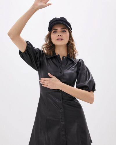 Кожаное черное платье Lime