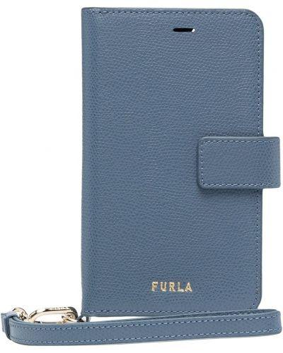 Кожаные футляр для очков - синие Furla