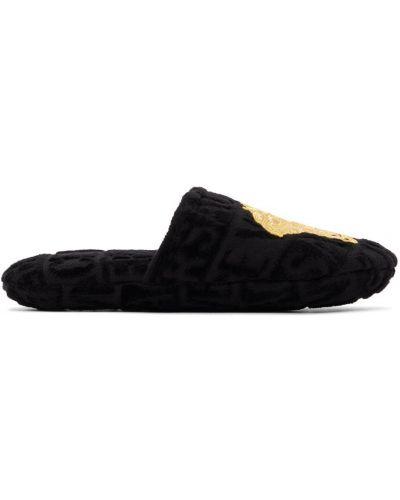 Satynowe kapcie - czarne Versace Underwear