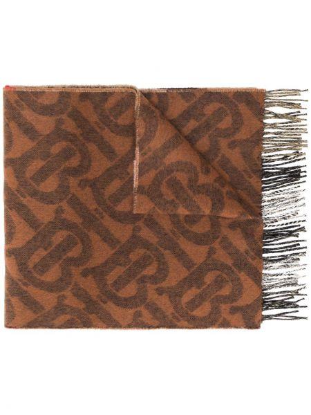 Prążkowany brązowy z kaszmiru szalik Burberry