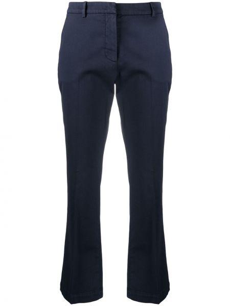 Хлопковые синие укороченные брюки с потайной застежкой Pt01