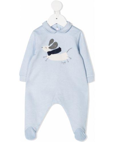 Синяя хлопковая пижама с длинными рукавами Il Gufo