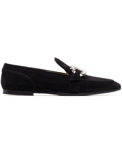 Loafers zamszowe - czarne Jimmy Choo