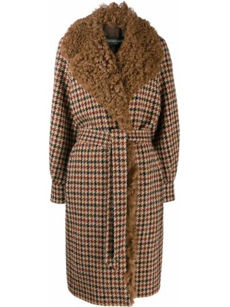 Коричневое пальто в клетку из альпаки Simonetta Ravizza