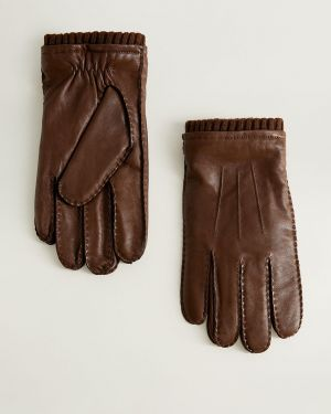 Skórzany rękawiczki prążkowany Mango Man