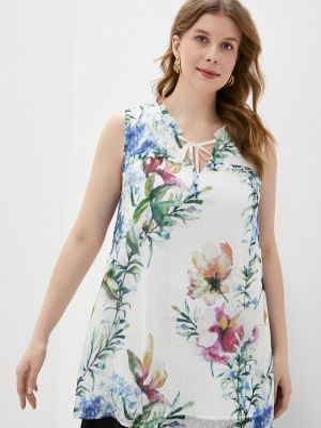 Блузка без рукавов белая весенний Zizzi